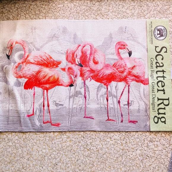 Fabulous Flamingos adorable Mid Mod throw rug NEW